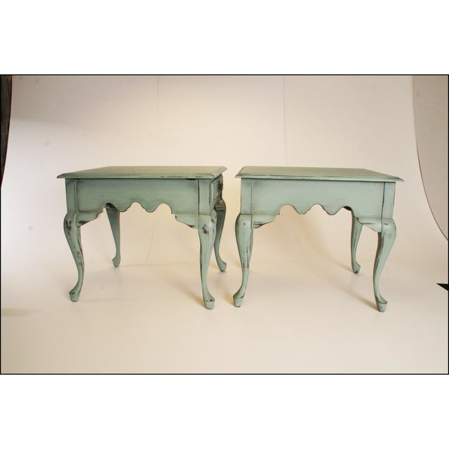 Vintage French Distressed Wood Side Tables - Pair - Image 6 of 11