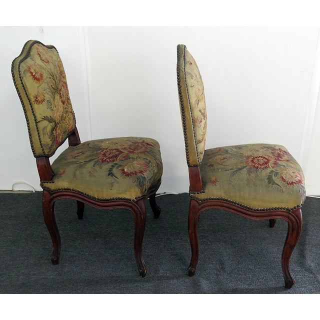 Textile Mid Century Louis XVI Style Side Chairs- A Pair For Sale - Image 7 of 10