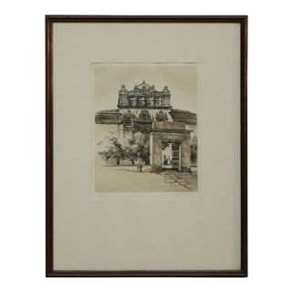 "Early 20th Century ""The Hospital, Santa Cruz"" Etching After Samuel Chamberlain, Framed For Sale"