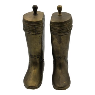 Brass Riding Boot Bookends - a Pair For Sale