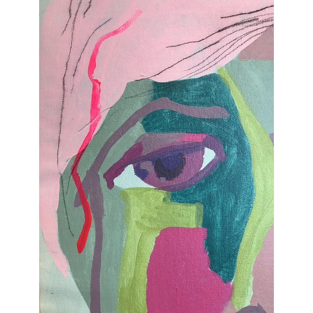 """Contemporary Abstract Portrait Painting """"It Goes by Fast"""" - Framed For Sale - Image 4 of 8"""