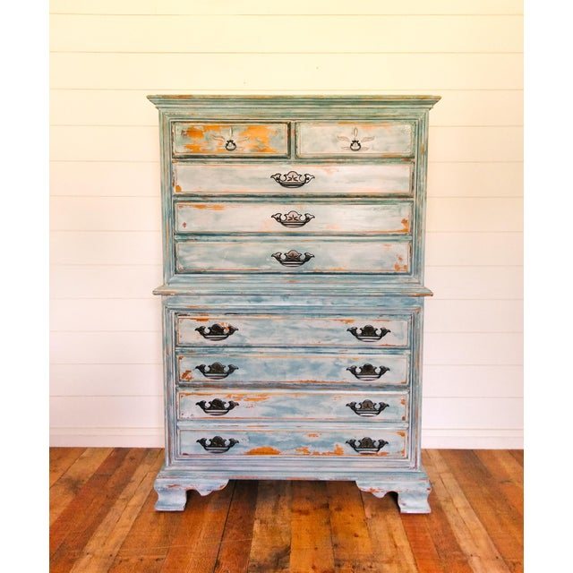 Distressed Coastal Solid Maple Tallboy/Dresser/Chest of Drawers For Sale - Image 10 of 10