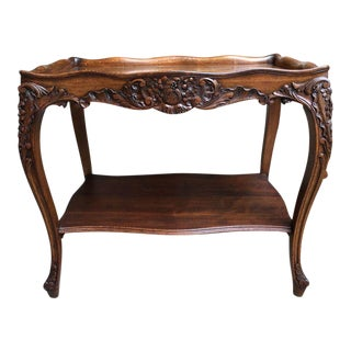Antique French Carved Oak Side Louis XV Cabriole End Table