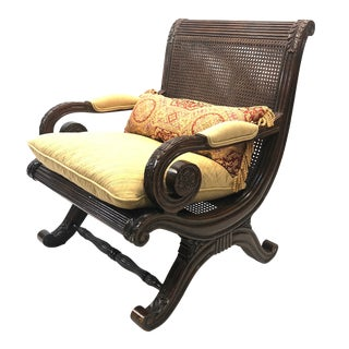 Hollywood Regency Carved Wood Plantation Chair For Sale