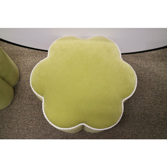 Chartreuse Custom Ottoman's, a Pair - Image 7 of 9