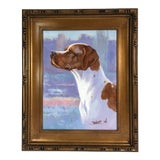 Image of Contemporary Pointer Dog Portrait Oil Painting For Sale