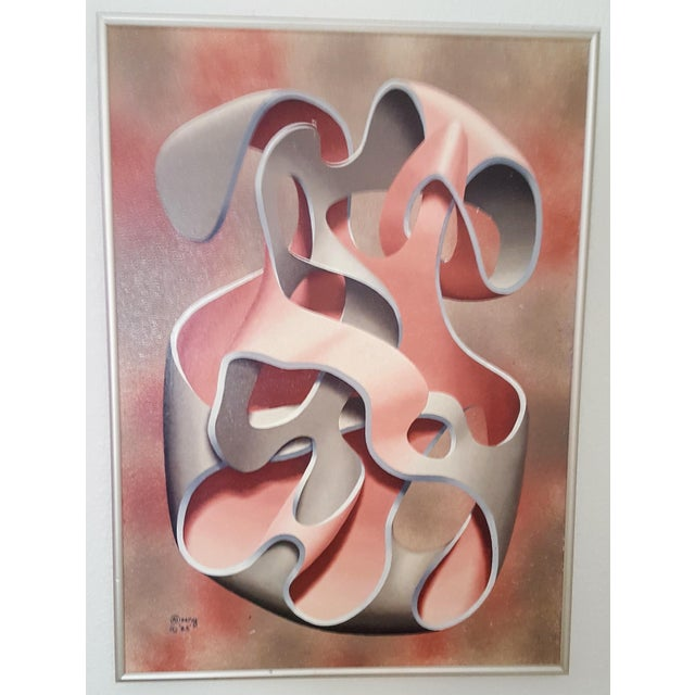 Pink & Grey Abstract Oil Painting - Image 4 of 4