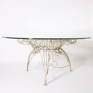 Round Metal Dining Table With Clear Glass Top, C. 1950 Preview