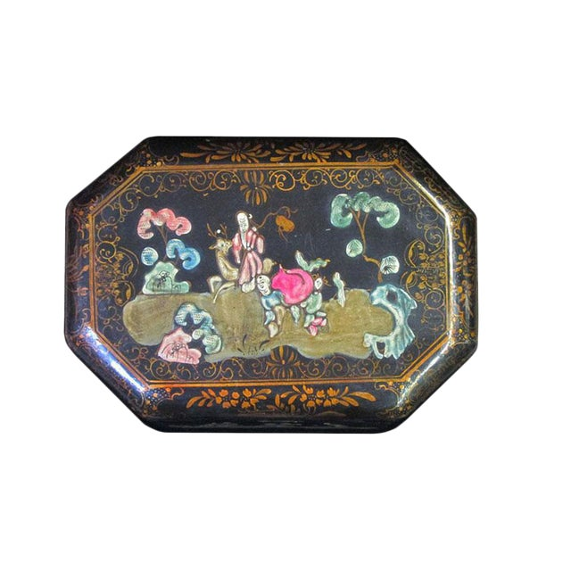 Vintage Handmade Chinese Octagon Painting Scenery Decorative Lacquer Box For Sale