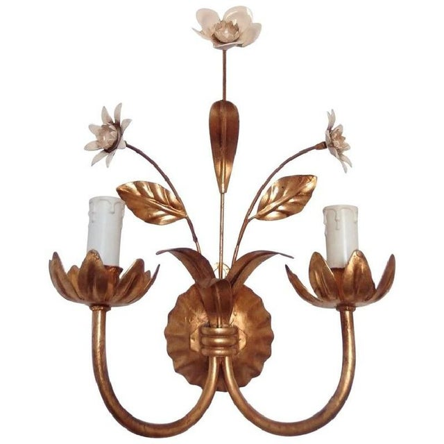French Flowers Wall Lamp, 1950s For Sale - Image 6 of 6