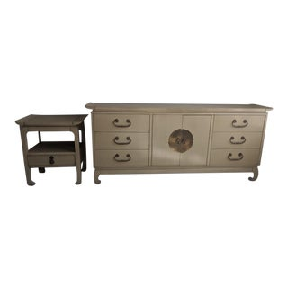 Mid-Century Kent Coffey Amerasia Credenza/Buffet/Dresser and Side Table - a Pair For Sale