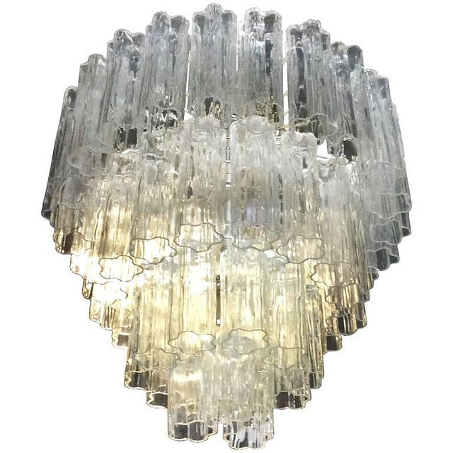 Transparent Vintage Murano Glass Chandelier Tronchi For Sale - Image 8 of 8