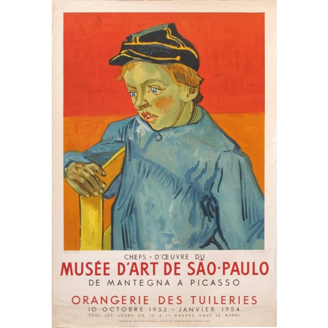 White 1954 French Exhibition Poster, Masterpieces From the Sao Paolo Museum of Art - Van Gogh For Sale - Image 8 of 8