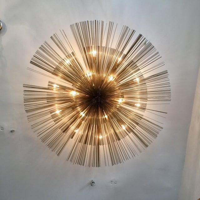 1960s Curtis Jere Brass Nest Flush Light Chandelier For Sale - Image 5 of 8