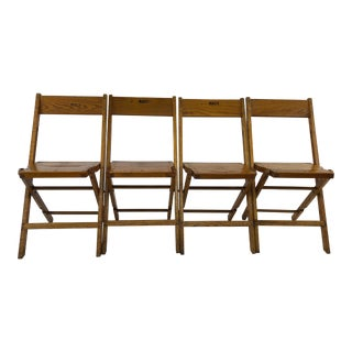 Vintage Wood Folding Chairs by Snyder - Set of 4 For Sale
