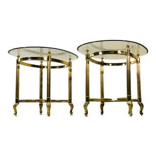 Vintage 1960s LaBarge Scroll Brass & Glass Top Side Tables, Pair For Sale