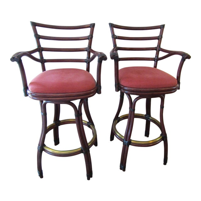 21st Century Vintage McGuire Galleria Bamboo Swivel Bar Stools- a Pair For Sale