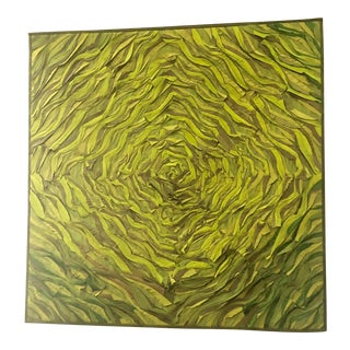 Tim Harding Green Spiral Fiber Wall Hanging For Sale