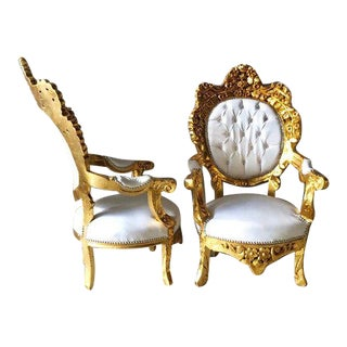 1950s Vintage Italian White Leather Baroque Style Chairs - A Pair For Sale