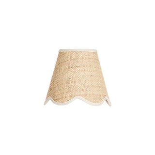 Matilda Goad Signature Scallop Candle Shade in Raffia With Cream Trim For Sale