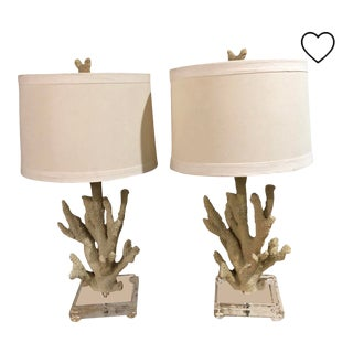 Pair of Coastal Faux Coral and Lucite Lamps With Linen Shades For Sale