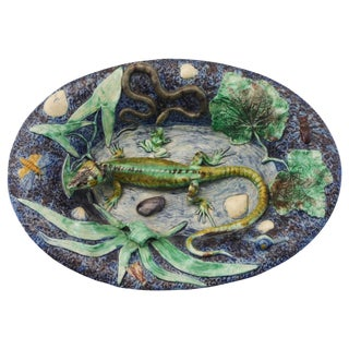 19th Majolica Palissy School of Paris Lizard Platter For Sale