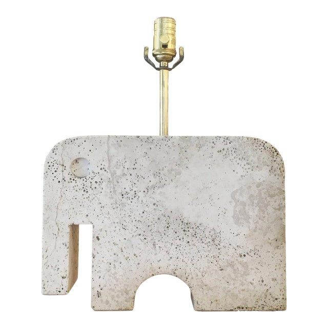 Travertine Elephant Table Lamp For Sale