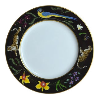 1980s Folk Art Lynn Chase Jaguar Jungle Salad/Dessert Plate