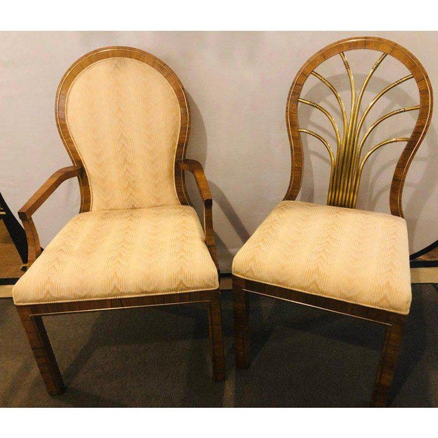 Set of 14 Mid-Century Modern Master-Craft Bronze Mounted Burl wood Dining Chairs. A Fine custom quality set of fourteen...