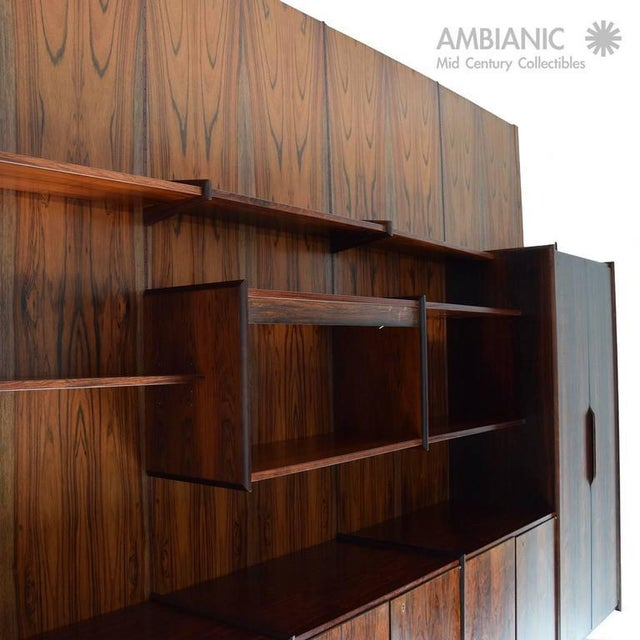 Lacquer Danish Mid-Century Modern Rosewood Wall Unit For Sale - Image 7 of 10