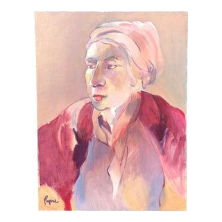 Late 20th Century Regone Pierrakos Signed Oil Portrait For Sale