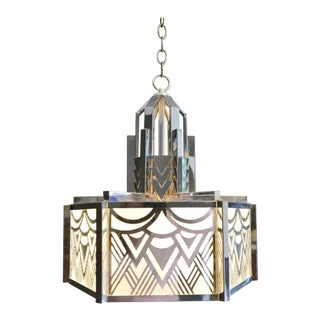 Art Deco Pendant Chandelier in Chrome and Glass For Sale