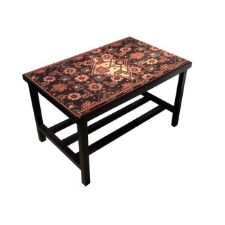 Antique Malayer Rug Coffee Table For Sale