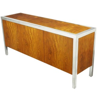 Pace Collection Koa Wood and Polished Steel Cabinet For Sale