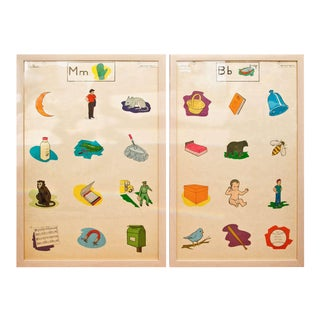 Custom Framed 1950's Elementary School Teaching Charts For Sale