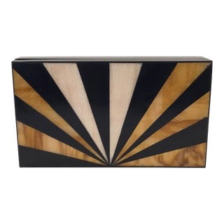 Modern Black Lacquer Box With Rays of Bone and Horn Inlay For Sale