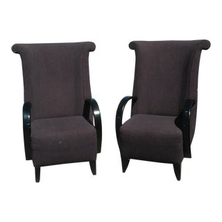 Late 20th Century Vintage Larry Laslo High Back Chairs - A Pair For Sale