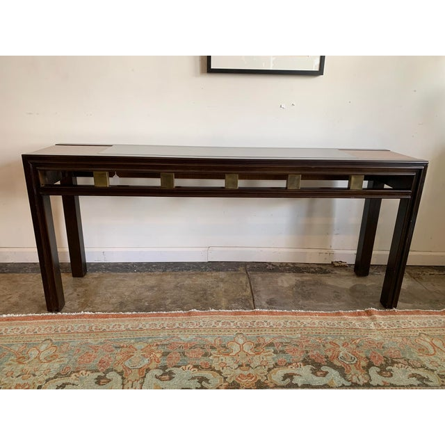 1970s Mixed Wood and Glass Sofa Console Table For Sale In Los Angeles - Image 6 of 6
