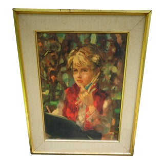 Original Lady Portrait Victor Ruzo Mid Century Modern Watercolor For Sale