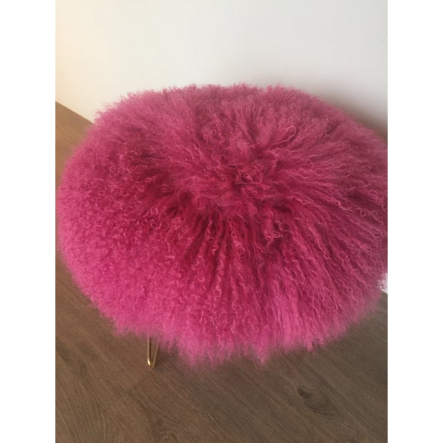Modern Hot Pink Mongolian Lamb Stool For Sale - Image 3 of 4