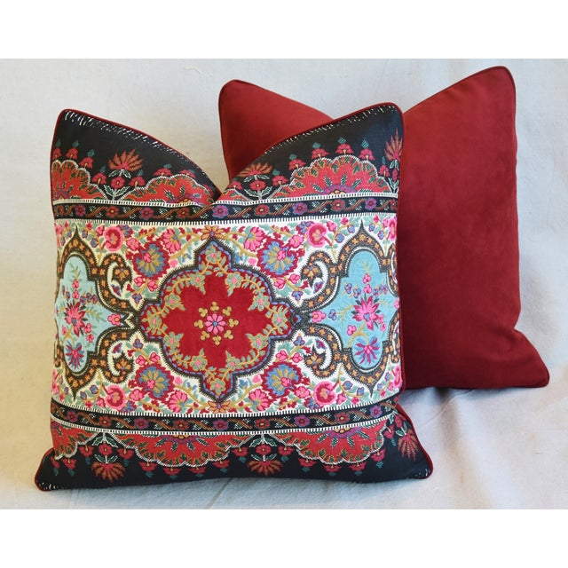"""Pierre Frey French Embroidered Feather/Down Pillows 18"""" Square - Pair For Sale - Image 10 of 13"""