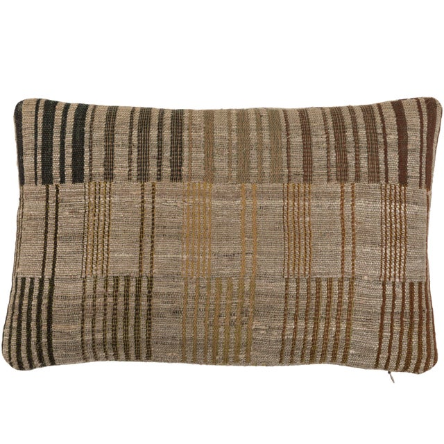 2010s Indian Handwoven Pillow Piano Keys Olive For Sale - Image 5 of 5