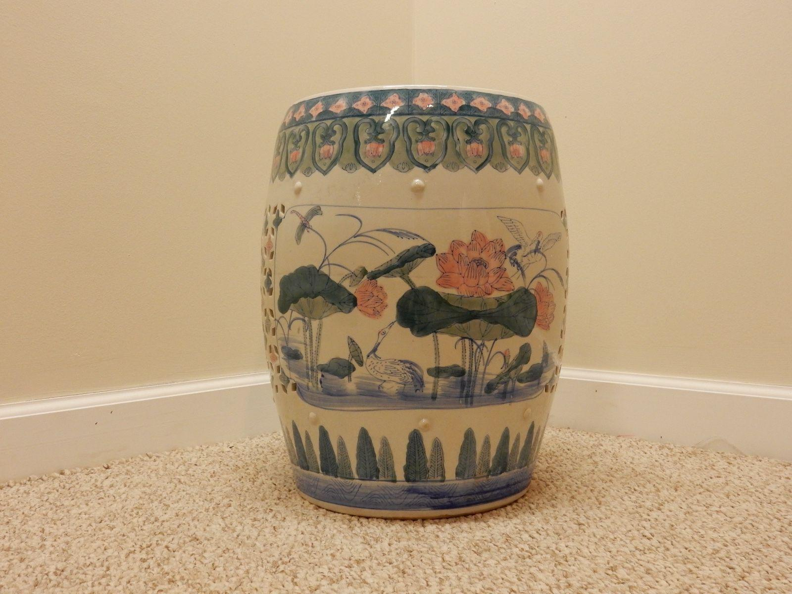 Vintage Hand Painted Chinese Garden Seat For Sale   Image 10 Of 11