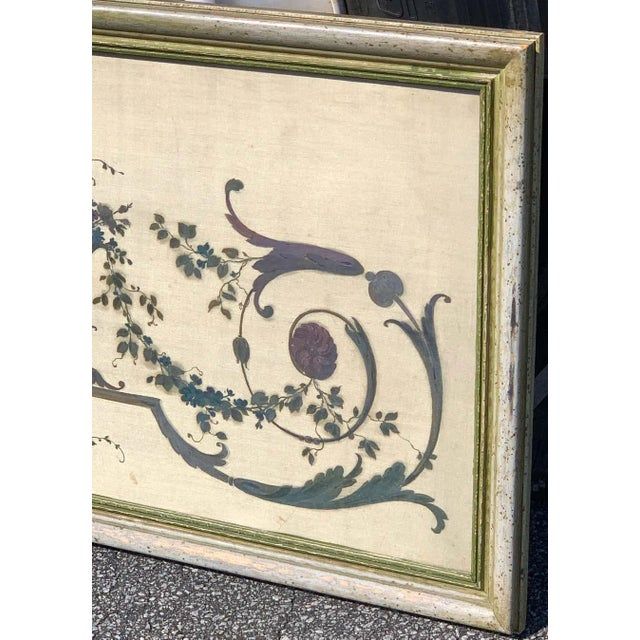 Robert Adam Style Painted Interior Architectural Panel, Framed For Sale - Image 9 of 10