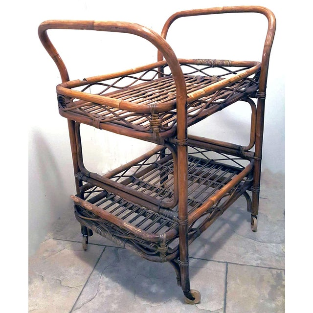 1950s Boho Chic Rattan Bamboo Rolling Serving Cart For Sale In Palm Springs - Image 6 of 7