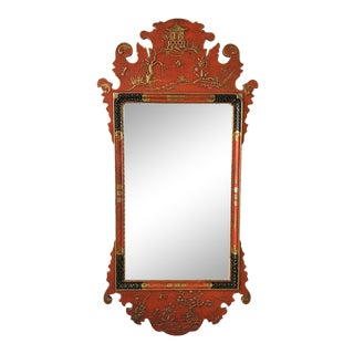1970s Red Chinese Chippendale Mirror by Palladio For Sale