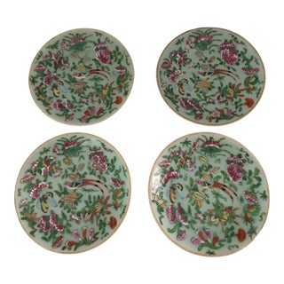 Early 19th Century Chinese Celadon Famille Rose Plates Signed - Set of 4 For Sale