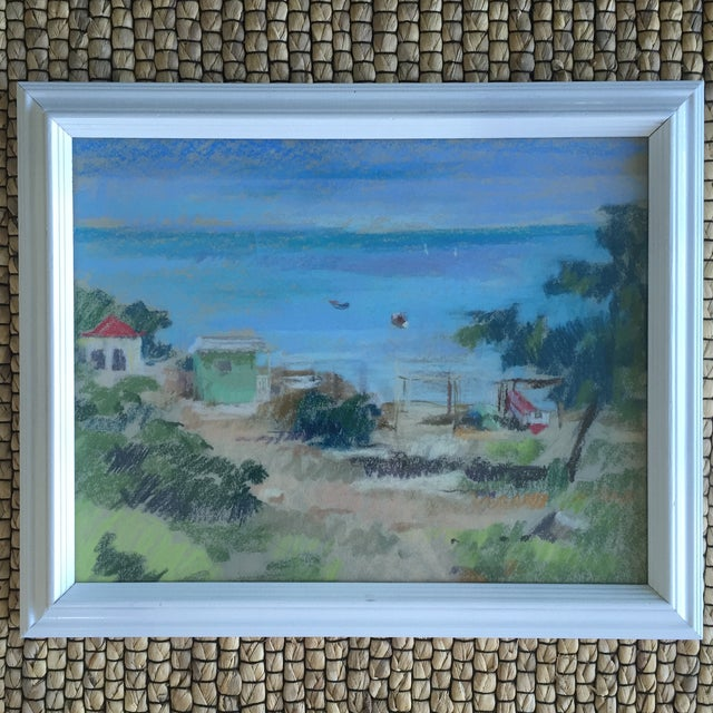 Gorgeous Seascape Oceanside Scene, done in oil pastels Framed in a glossy white frame I have another matching art piece...