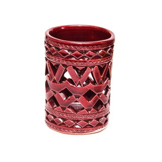 Moroccan Hand Painted Burgundy Ceramic Tealight Holder For Sale