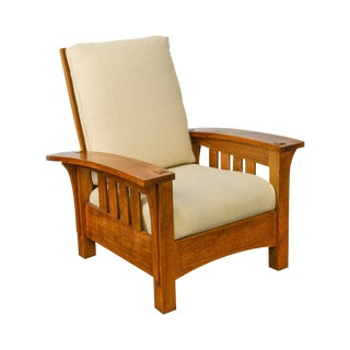 Stickley Mission Oak Collection Bow Arm Morris Chair For Sale